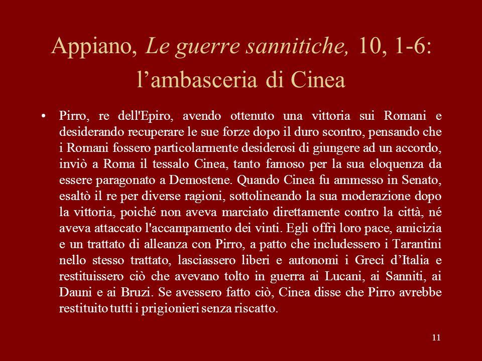 Appiano, Le guerre sannitiche, 10, 1-6: l'ambasceria di Cinea