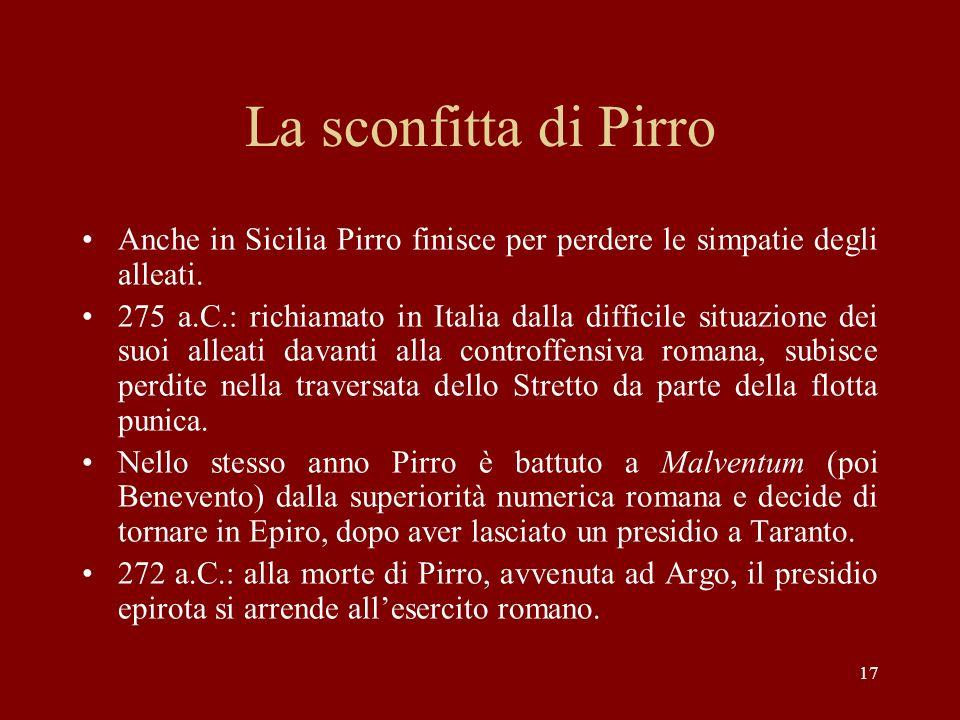 La sconfitta di Pirro Anche in Sicilia Pirro finisce per perdere le simpatie degli alleati.
