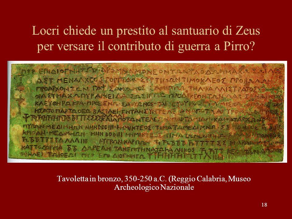 Locri chiede un prestito al santuario di Zeus per versare il contributo di guerra a Pirro