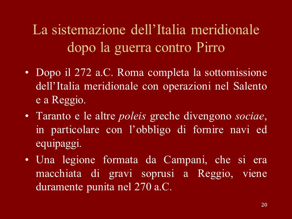 La sistemazione dell'Italia meridionale dopo la guerra contro Pirro