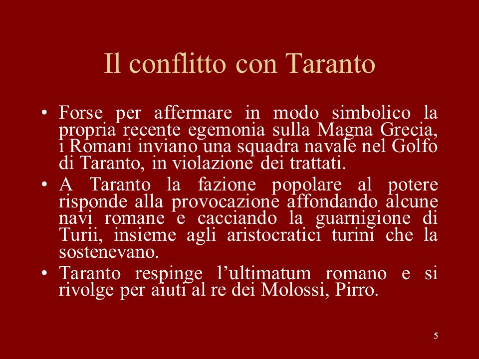 Il conflitto con Taranto