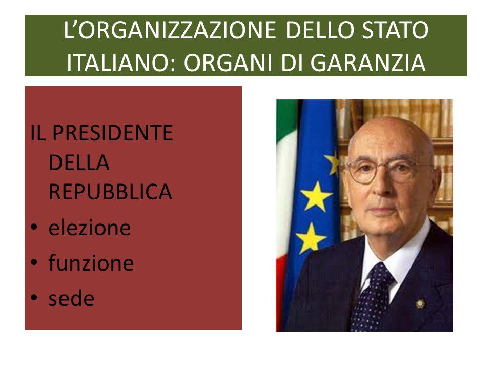L'ORGANIZZAZIONE DELLO STATO ITALIANO: ORGANI DI GARANZIA