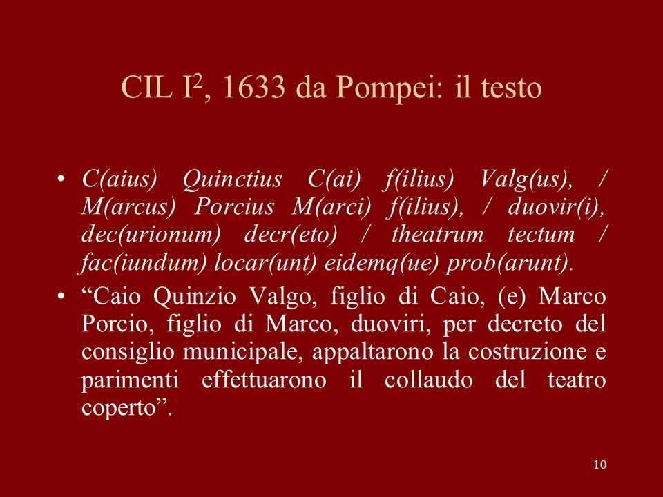 CIL I2, 1633 da Pompei: il testo