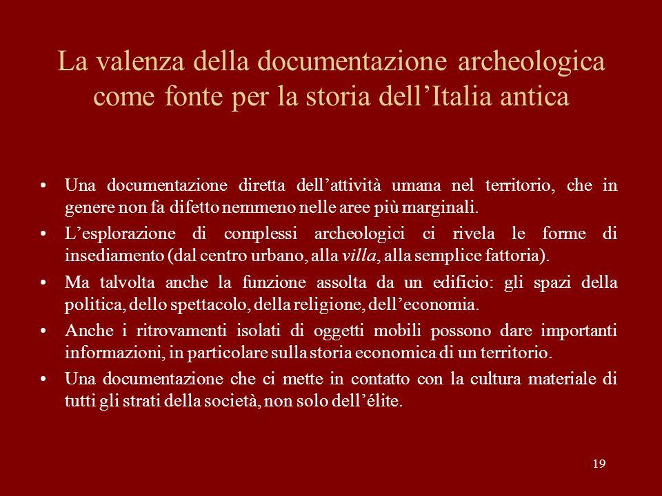 La valenza della documentazione archeologica come fonte per la storia dell'Italia antica