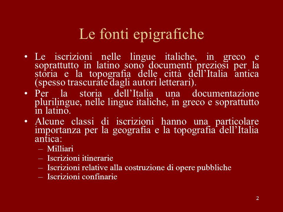 Le fonti epigrafiche