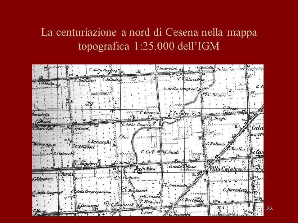 La centuriazione a nord di Cesena nella mappa topografica 1:25