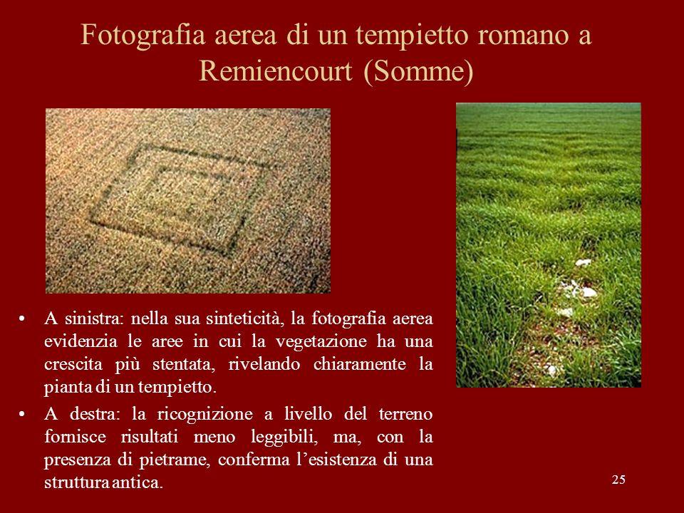 Fotografia aerea di un tempietto romano a Remiencourt (Somme)
