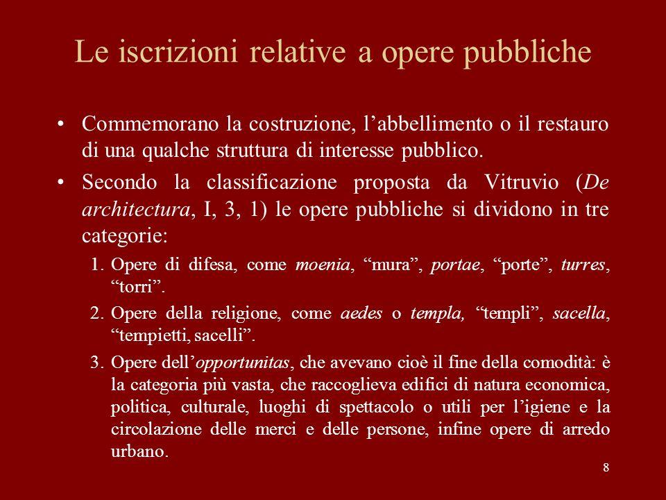 Le iscrizioni relative a opere pubbliche