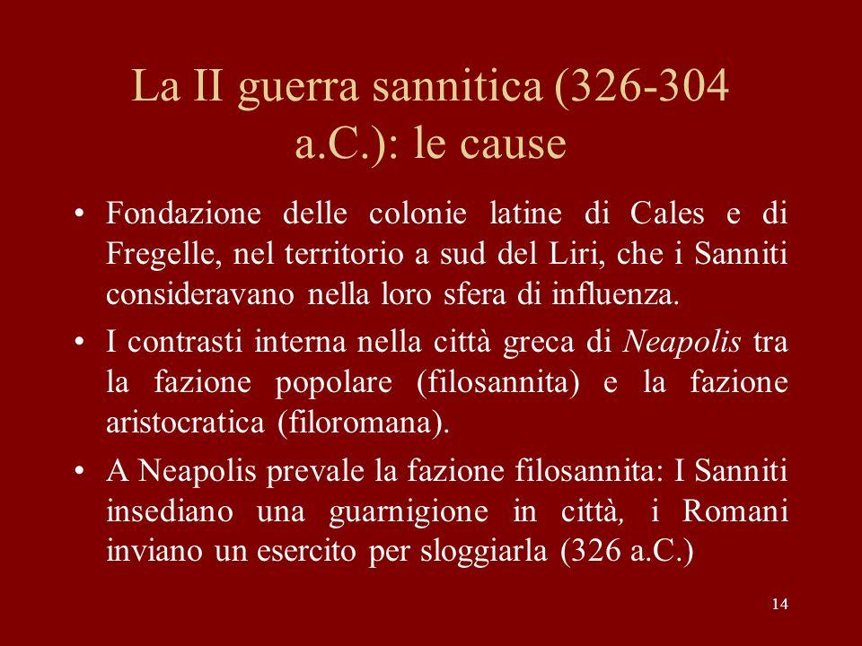 La II guerra sannitica (326-304 a.C.): le cause