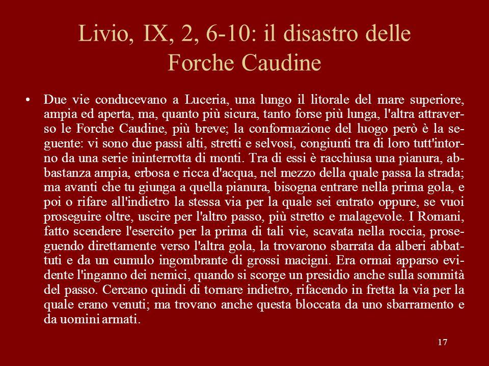Livio, IX, 2, 6-10: il disastro delle Forche Caudine