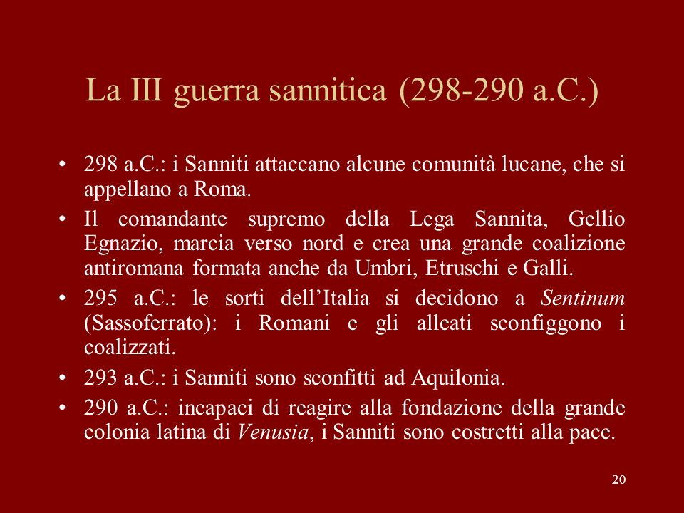 La III guerra sannitica (298-290 a.C.)