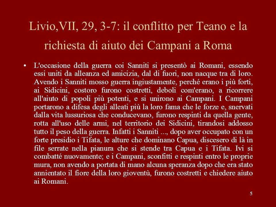Livio,VII, 29, 3-7: il conflitto per Teano e la richiesta di aiuto dei Campani a Roma