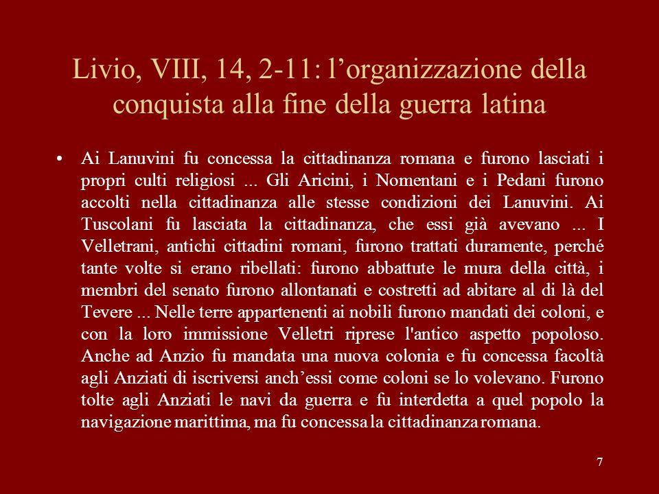 Livio, VIII, 14, 2-11: l'organizzazione della conquista alla fine della guerra latina