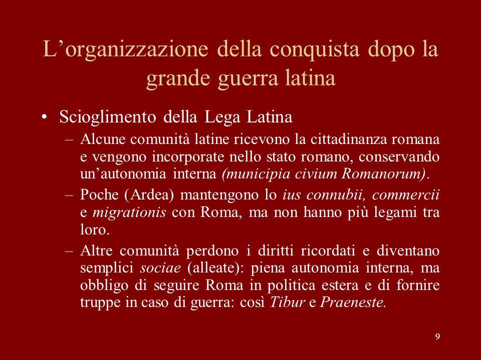 L'organizzazione della conquista dopo la grande guerra latina