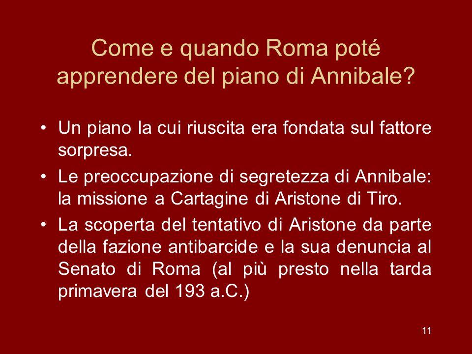 Come e quando Roma poté apprendere del piano di Annibale
