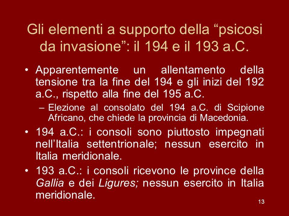 Gli elementi a supporto della psicosi da invasione : il 194 e il 193 a.C.