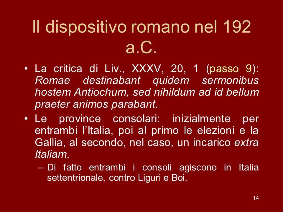 Il dispositivo romano nel 192 a.C.