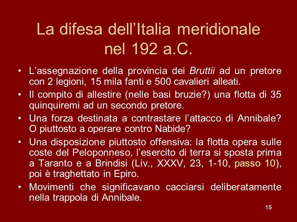 La difesa dell'Italia meridionale nel 192 a.C.