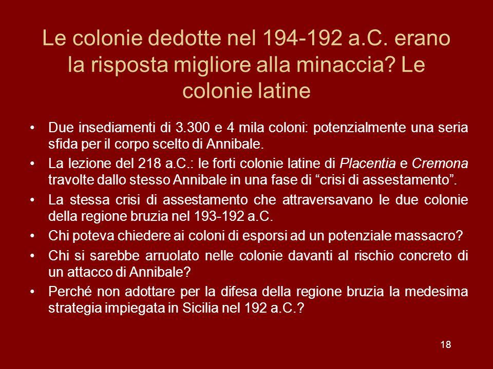 Le colonie dedotte nel 194-192 a. C