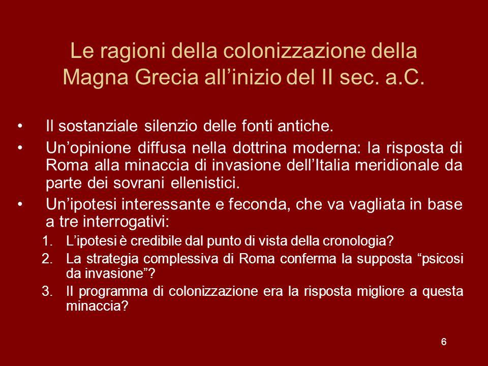 Le ragioni della colonizzazione della Magna Grecia all'inizio del II sec. a.C.