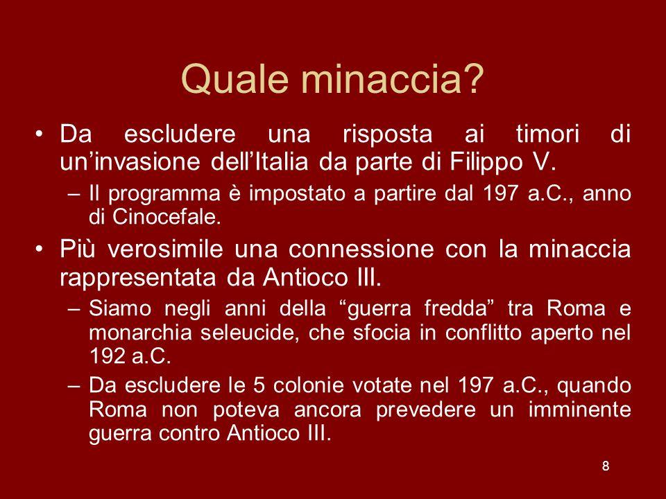 Quale minaccia Da escludere una risposta ai timori di un'invasione dell'Italia da parte di Filippo V.