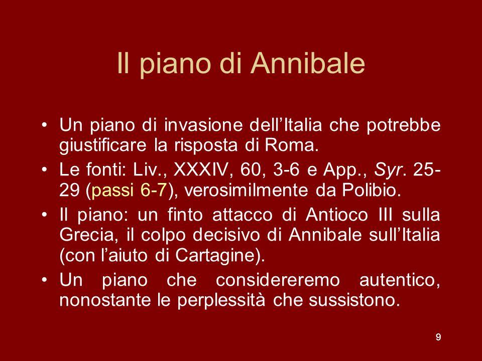 Il piano di Annibale Un piano di invasione dell'Italia che potrebbe giustificare la risposta di Roma.