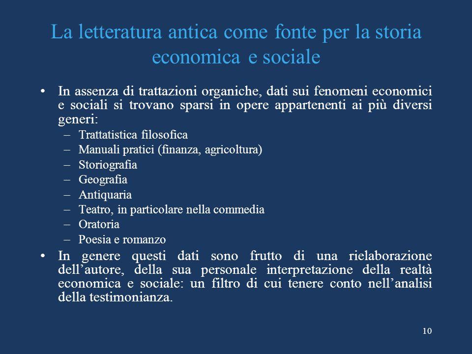 La letteratura antica come fonte per la storia economica e sociale