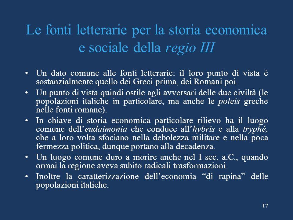 Le fonti letterarie per la storia economica e sociale della regio III