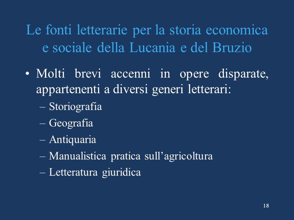 Le fonti letterarie per la storia economica e sociale della Lucania e del Bruzio