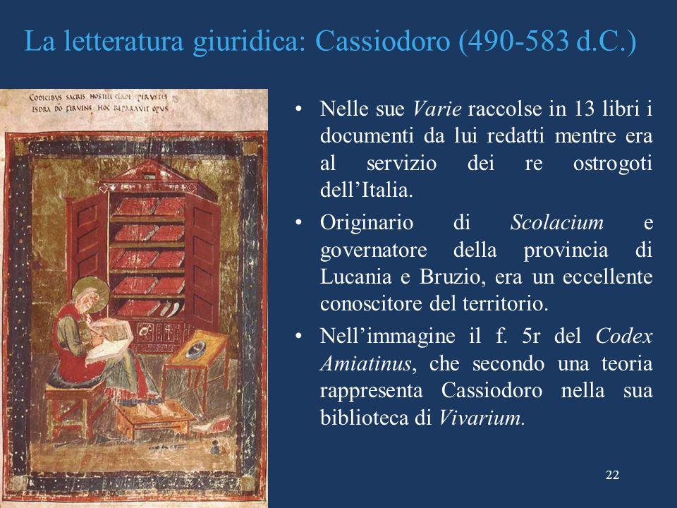 La letteratura giuridica: Cassiodoro (490-583 d.C.)