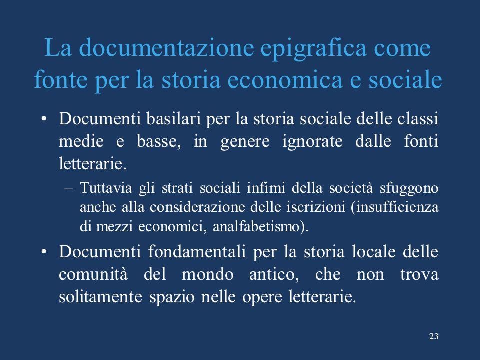 La documentazione epigrafica come fonte per la storia economica e sociale