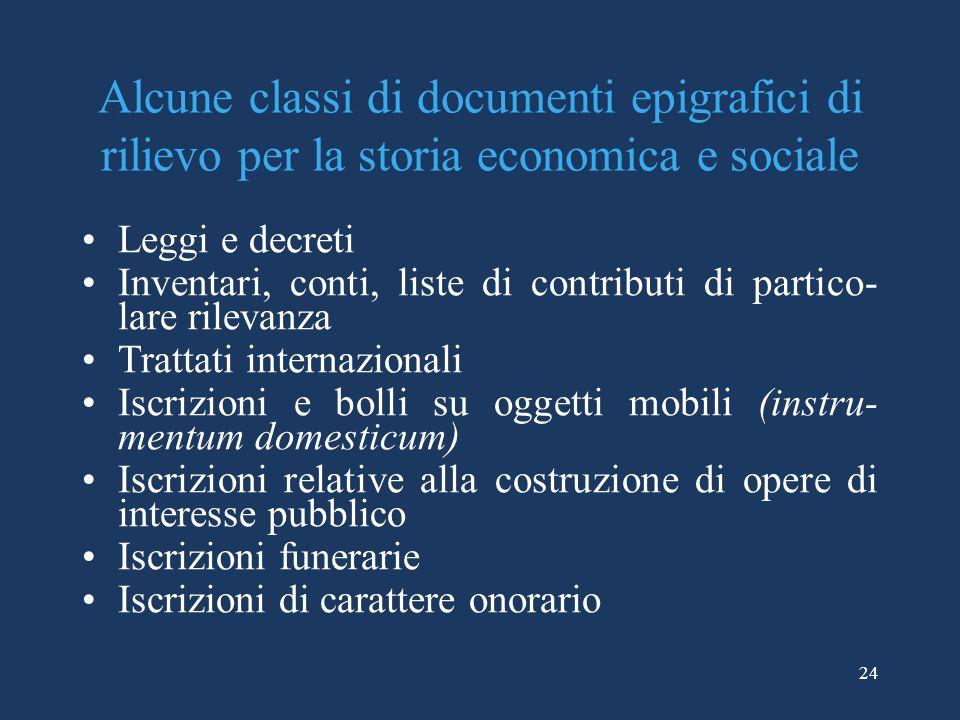 Alcune classi di documenti epigrafici di rilievo per la storia economica e sociale