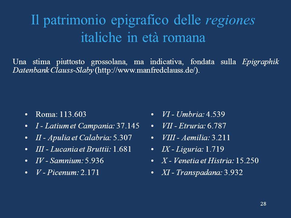 Il patrimonio epigrafico delle regiones italiche in età romana