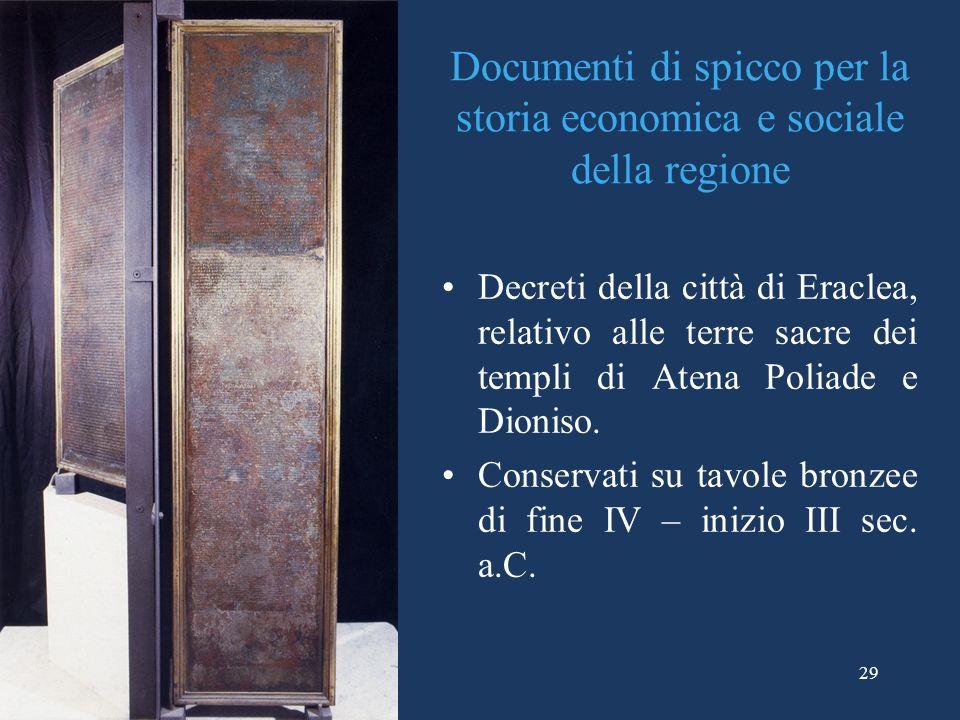 Documenti di spicco per la storia economica e sociale della regione