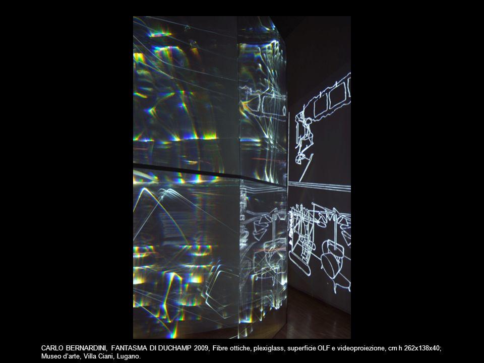 CARLO BERNARDINI, FANTASMA DI DUCHAMP 2009, Fibre ottiche, plexiglass, superficie OLF e videoproiezione, cm h 262x138x40;