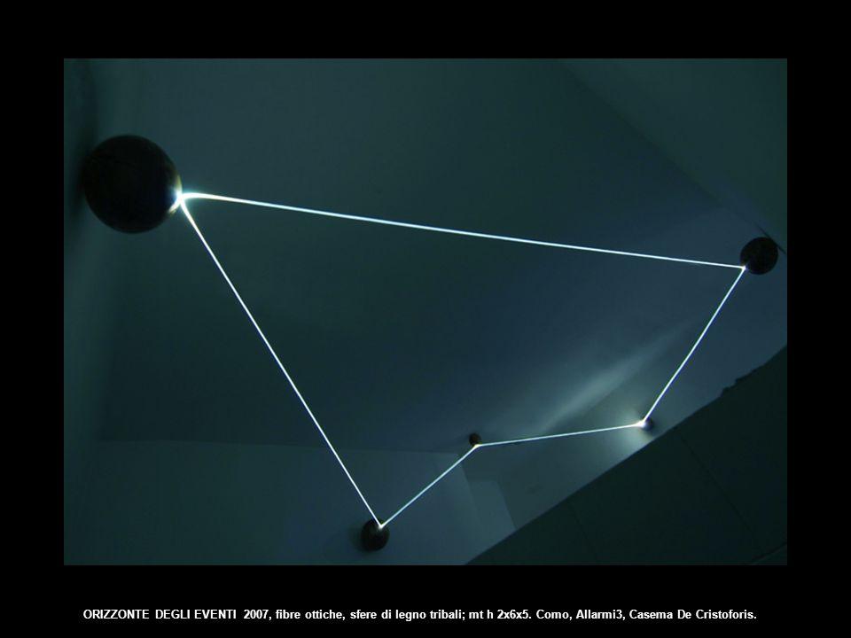 ORIZZONTE DEGLI EVENTI 2007, fibre ottiche, sfere di legno tribali; mt h 2x6x5.