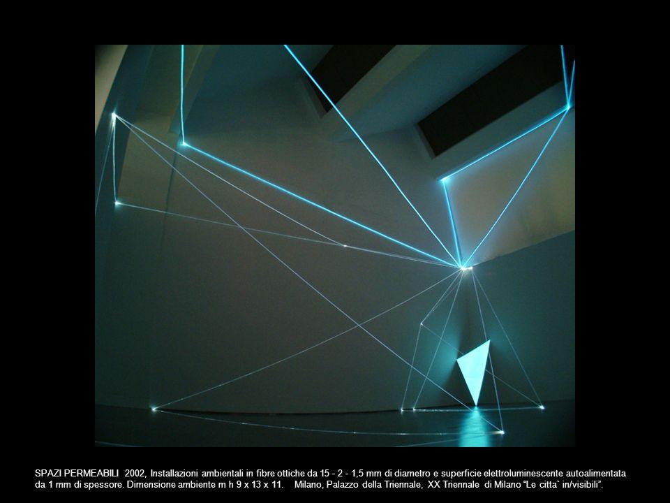 SPAZI PERMEABILI 2002, Installazioni ambientali in fibre ottiche da 15 - 2 - 1,5 mm di diametro e superficie elettroluminescente autoalimentata