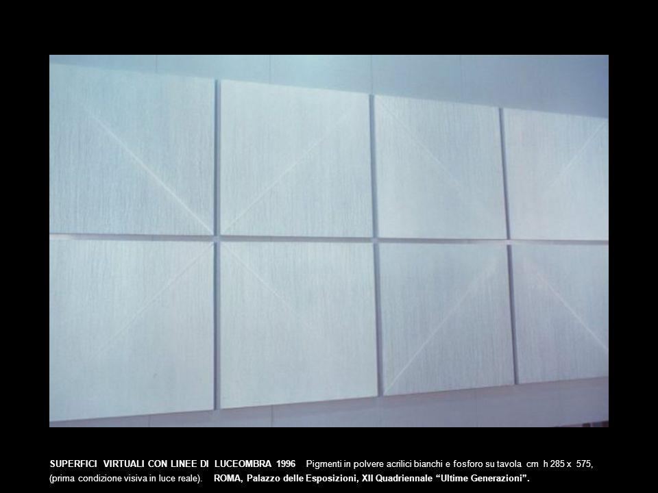 SUPERFICI VIRTUALI CON LINEE DI LUCEOMBRA 1996 Pigmenti in polvere acrilici bianchi e fosforo su tavola cm h 285 x 575,