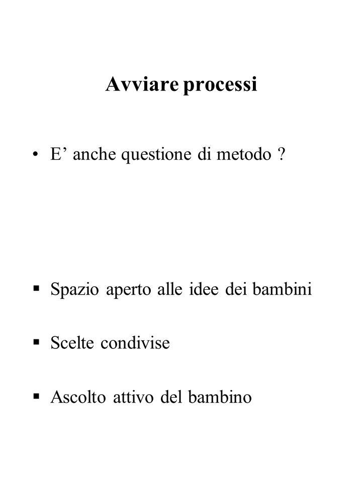 Avviare processi E' anche questione di metodo