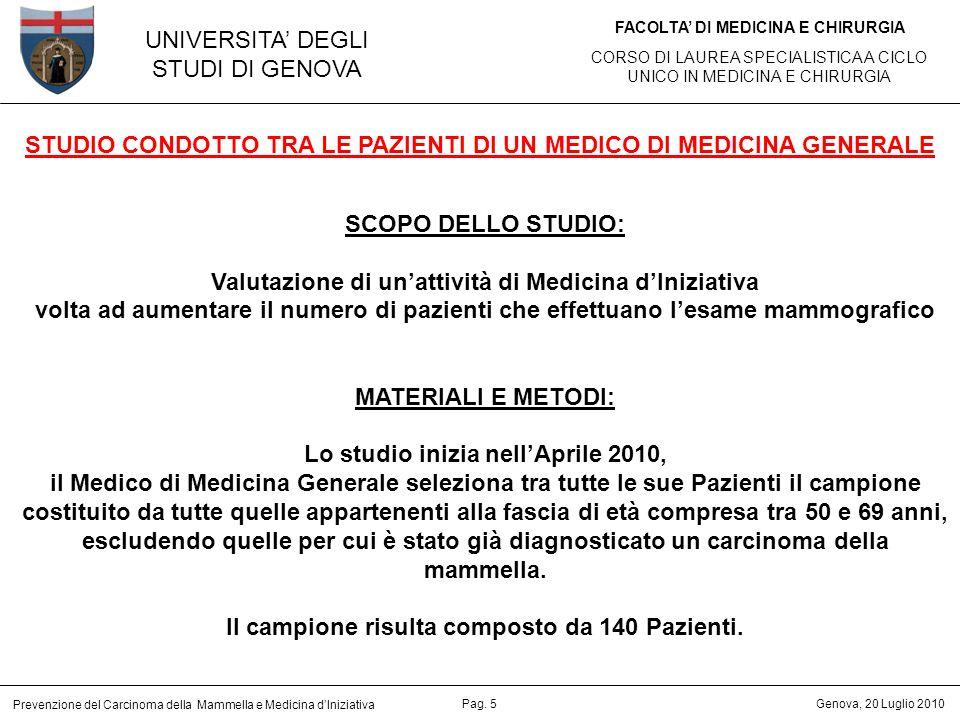 STUDIO CONDOTTO TRA LE PAZIENTI DI UN MEDICO DI MEDICINA GENERALE