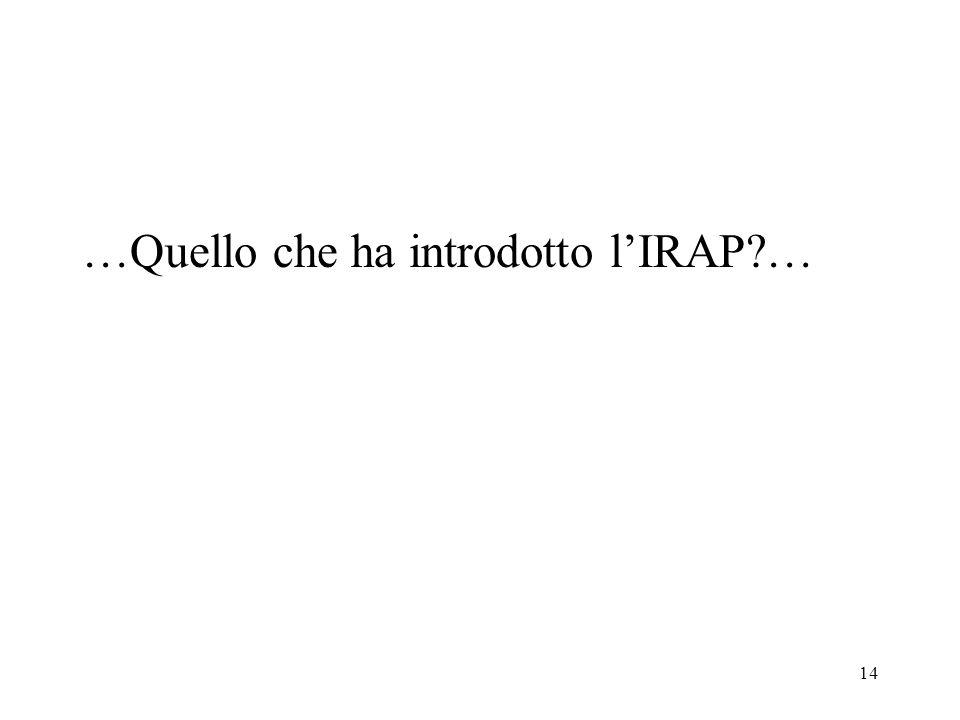 …Quello che ha introdotto l'IRAP …
