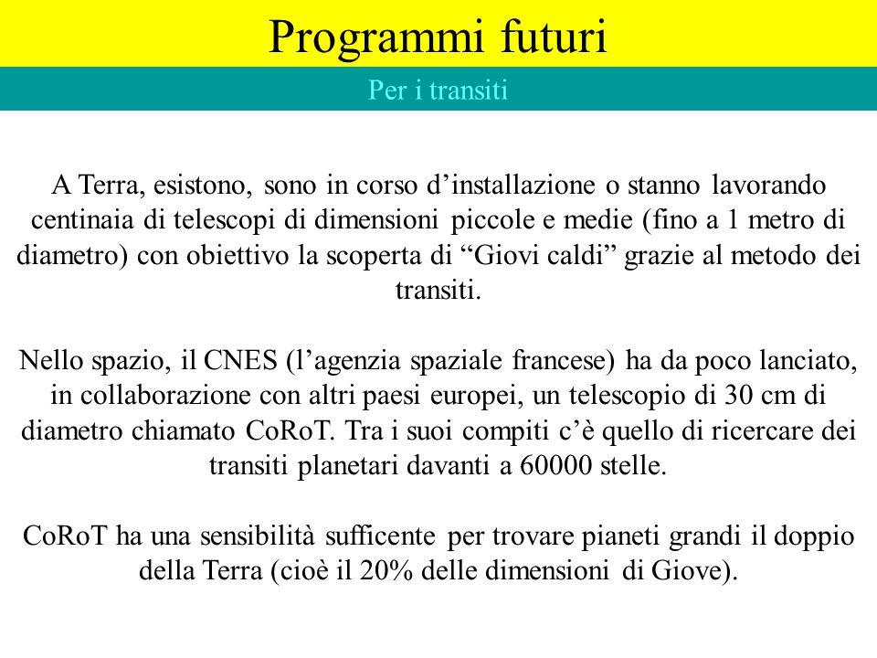 Programmi futuri Per i transiti