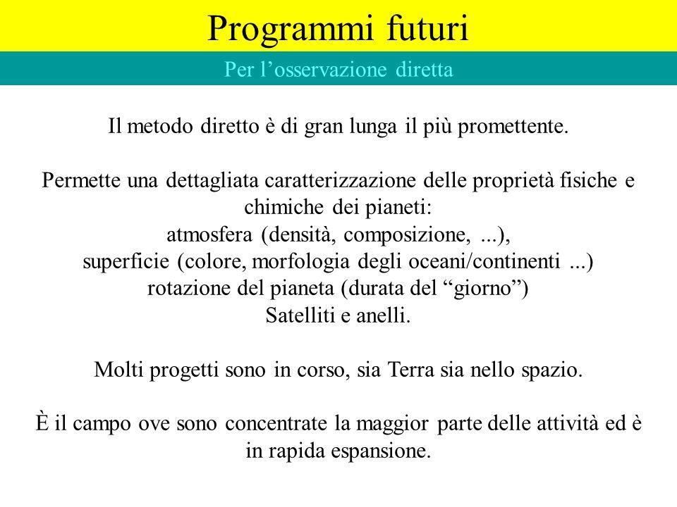 Programmi futuri Per l'osservazione diretta