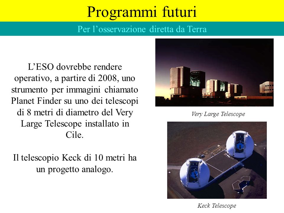 Programmi futuri Per l'osservazione diretta da Terra
