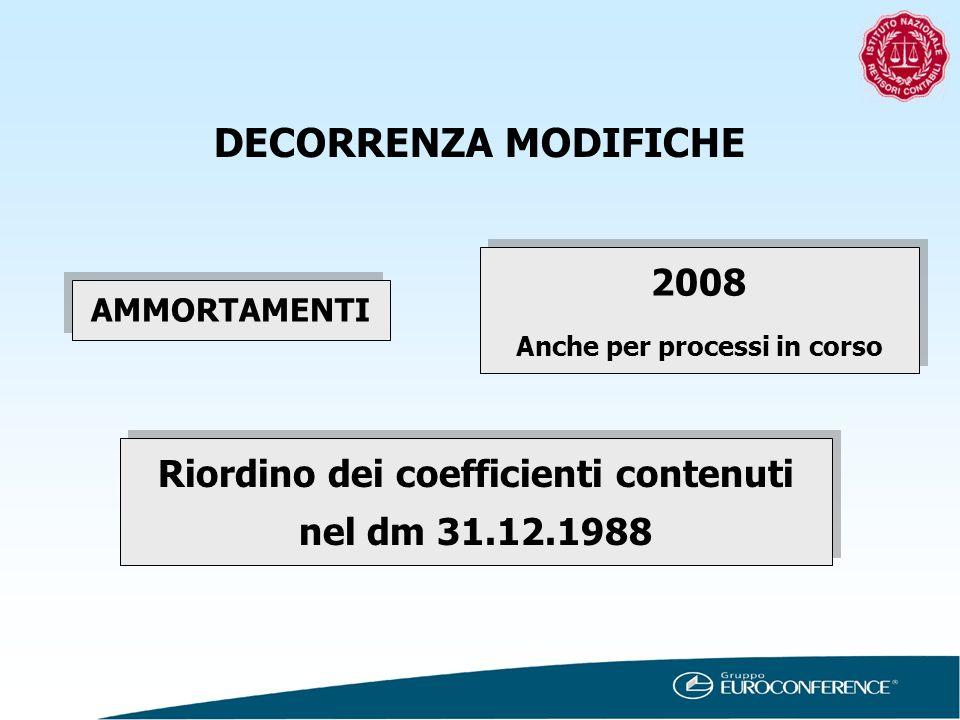 DECORRENZA MODIFICHE 2008. Anche per processi in corso.