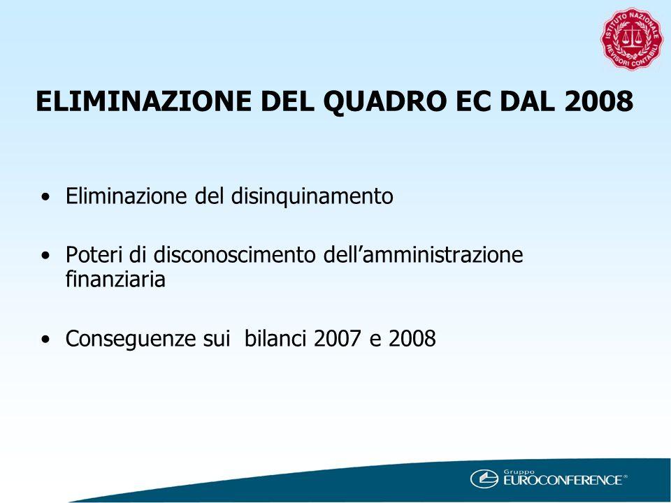 ELIMINAZIONE DEL QUADRO EC DAL 2008