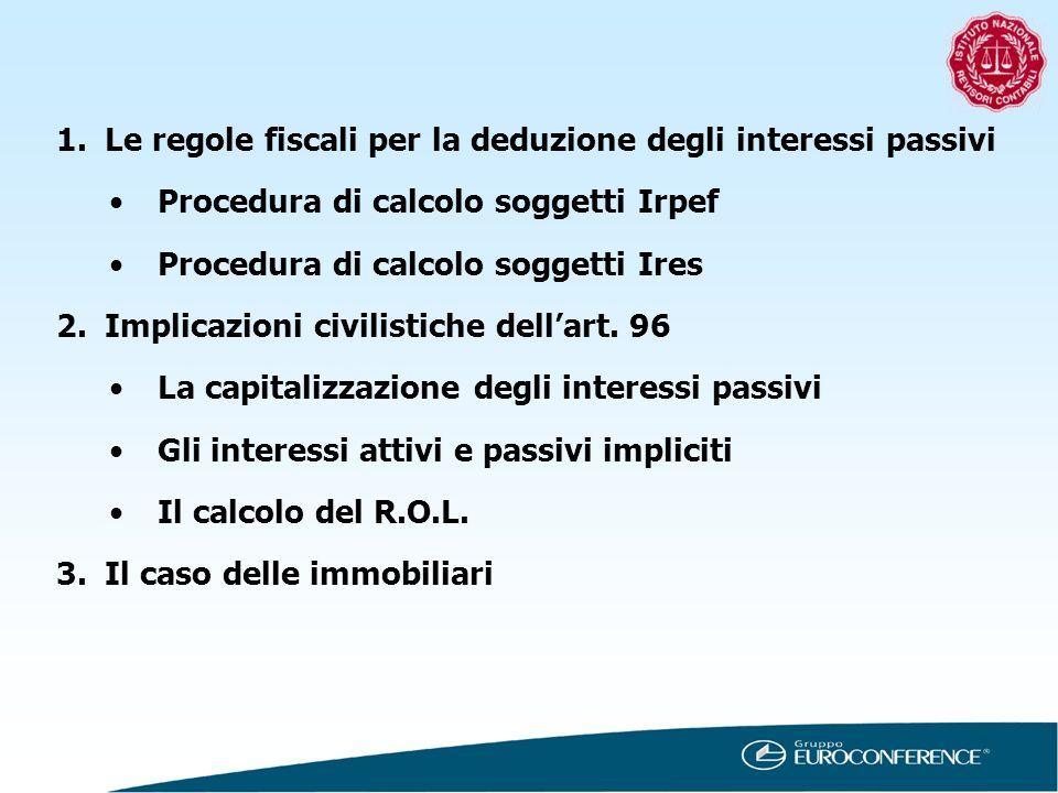 Le regole fiscali per la deduzione degli interessi passivi