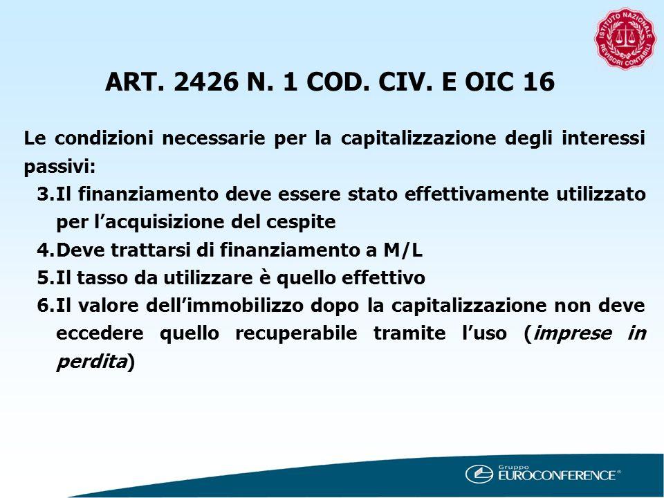 ART. 2426 N. 1 COD. CIV. E OIC 16 Le condizioni necessarie per la capitalizzazione degli interessi passivi: