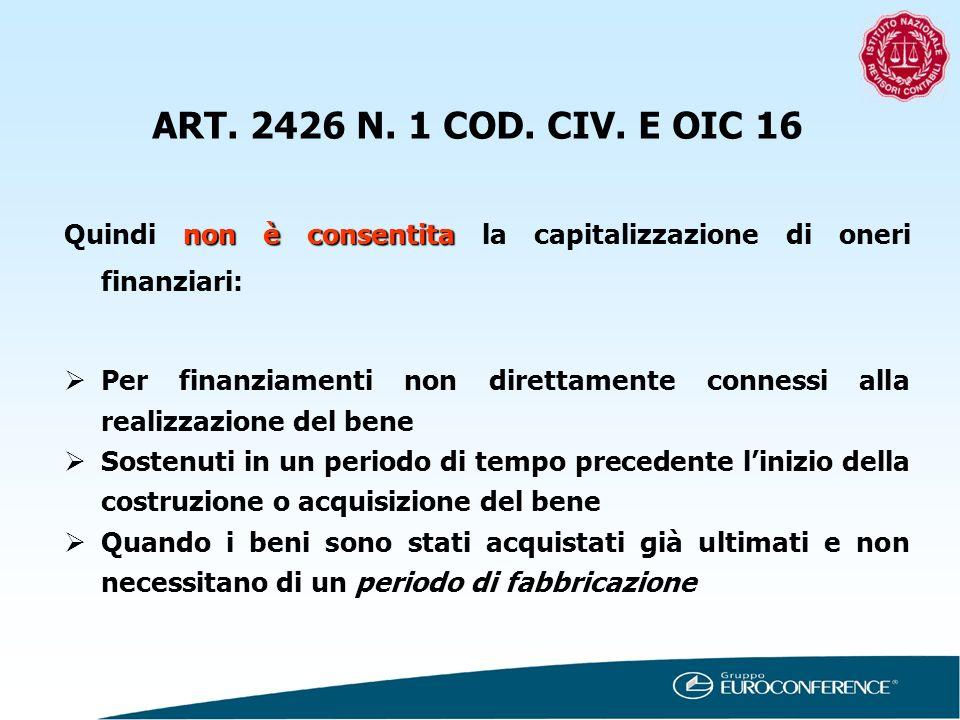 ART. 2426 N. 1 COD. CIV. E OIC 16 Quindi non è consentita la capitalizzazione di oneri finanziari:
