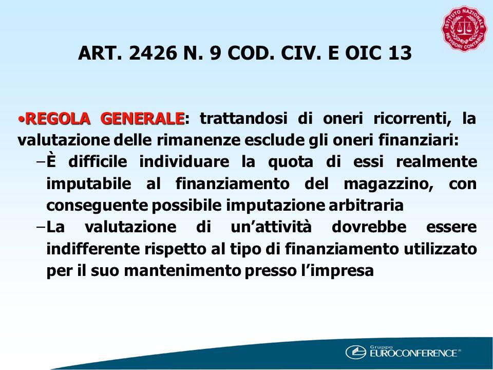 ART. 2426 N. 9 COD. CIV. E OIC 13 REGOLA GENERALE: trattandosi di oneri ricorrenti, la valutazione delle rimanenze esclude gli oneri finanziari:
